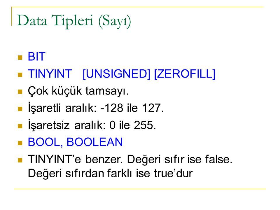 Data Tipleri (Sayı) BIT TINYINT [UNSIGNED] [ZEROFILL]